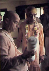 In foreground is His Holiness Kinanananda Swami, the leader of West Virginia's Hare Krishna farm community.