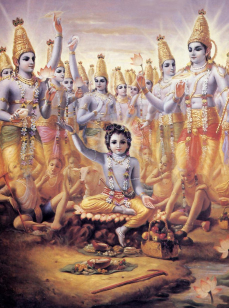 To convince Brahma that Krsna's new calves and boys were not the original ones, They all tran sformed Into four-armed Visuu forms. All were transcendentally beautiful. Their glancing resembled the sunrise.