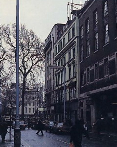 The greenish-hued building is just off Oxford Street, near Soho Square. It containes a temple theatre, and restaurant.