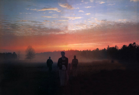 """On July 8, 1974, after much hunting, Nityananda signed the papers for a two-hundred-acre farm. """"As we stood out in the yard watching the sun set behind the pine forests, we wondered what we were going to do next"""""""
