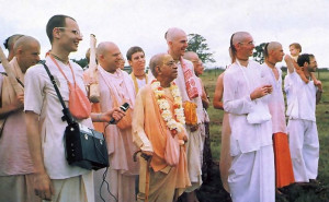 Make the farm self-sufficient, Srila Prabhupada tells Nityananda (third from right).
