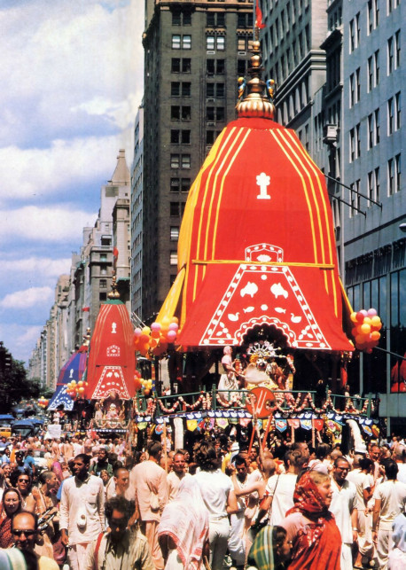 New York City grab the ropes and pull Lord Krsna's chariots farther and farther toward their destination.
