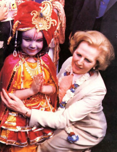 "Prime Minister Margaret Thatcher enjoys a few moments with Krsna (portrayed by six-year-old Yamuna dasi). ""Why are you blue'?"" the Prime Minister asked"