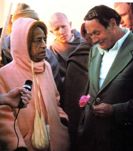 """As we we re walking by the seashore, Srila Prabhupada (at left), I was speaking of Jesus Christ as the Son of God. He said this was a belief which he also held.''"