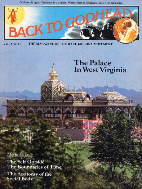 "The Palace in West Virginia. Says the Pittsburgh Press, ""The West Virginia panhandle's farm-checkered, wooded vistas give way before a shimmer of the Orient: gold mirrors and gold leaf ornament , silver filigree, and stained glass and marble of many colors. An estimated 200 tons of marble were used in the structure. About 50 kinds o f marble were imported from all over the world. The stone was cut, polished, and pieced together in intricate floral a11d geometric designs in the Krishna workshop .. . .''"