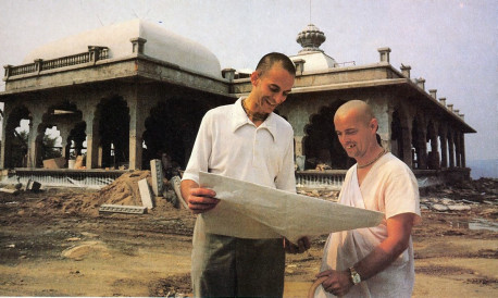 Planning and building took a full six years. Srila Kirtanananda Swami Bhaktipada (at right) conceived the project and saw it through in all its details. Bhagavatananda dasa (left) drew up the plans, engineered the construction.