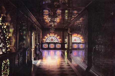 Brilliant stained-glass windows, each design unique, line the Palace's outer hallways.