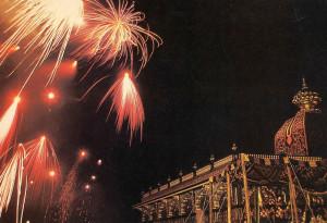 On opening night, fireworks illumine the Palace
