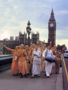 A familiar sound in London streets is chanting of the Lord's holy names (Hare Krsna). It draws together people of all religious and ethnic backgrounds in a movement for world place.