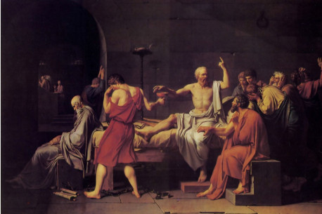 """The Death of Socrates."" Condemned to die by the Athenian democracy. Socrates prepares to drink poisonous hemlock. surrounded by his mourning followers. Socrates, however, faces his death calmly and without fear, an attitude he said was but proper for a philosopher. who is interested only in the care of his soul and is unaffected by bodily conditions."