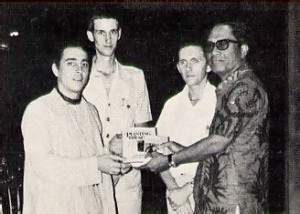 His Holiness Prabhupada-krpa Goswami presents ISKCON publications to the Governor of Bali.