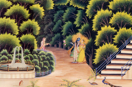 Radha and Krsna in the groves of Vrndavana