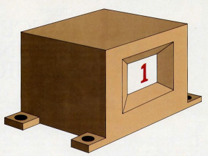 "Fig. 1. This device displays a figure of zero or one that can change from second to second. We shall regard it as a model '""universe"" and use it to illustrate the concepts of random events and universal statistical laws."