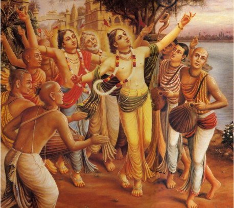 Chanting the Hare Krsna mantra and dancing in ecstasy, Sri Caitanya Mahiiprabhu (center) inaugurated in late six teenth-century India a massive religious revival that continues today in cities throughout the world.