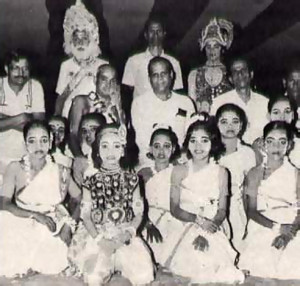 The Honorable J. B. Pattanaik (second row, center), the chief minister of Orissa; His Holiness Gaura-Govinda Swami (to his right), director of ISKCON's Bhuvanesvara center; and stage director K. C. Pattanaik (to the minister's left) pose with members of the cast of Prahlada.