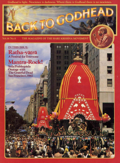"Ratha-yatra, ""The Festival of the Chariots,'' an ancient celebration held annually in India, has now become popular in cities around the world. Here, on Fifth Avenue, while thousands view the parade with pleasure and curiosity, enthusiastic celebrants pull three giant chariots toward Washington Square Park."