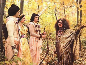 When Ravana's sister Surpa-nakha  comes across Rama and His companions in the forest, she tries to seduce Rama and Laksmana and devour Sita. Laksmana lops off Surpa-nakha's nose and cars and sends her screaming into the forest. vowing revenge .