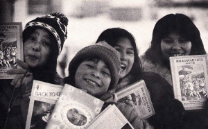 Eskimo children in Yellowknife were enthusiastic to receive literature on Krsna consciousness from Canadian devotees .