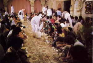 A brahmana must also give charity, as at the Sunday Festival in London, where hundreds o f guests receive the greatest of all gifts: the prasadam (mercy) of Krsna in the form of delicious vegetarian dishes prepared and offered to Him with loving devotion.