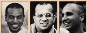 New spiritual masters Srila Bhaktisvarupa Damodara Swami, Srila Gopala Krsna Goswami, and Srila Pancadravida Swami.