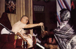 Awarding spiritual initiation to new devotees at the Hare Krsna center in Lagos, Nigeria