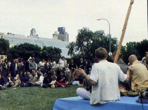 In New York City's Cemra/ Park, demonstrators against the nuclear arms races top to listen to the transcendental sound of the Hare Krsna mantra