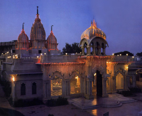 The Krsna-Balarama Temple at dusk