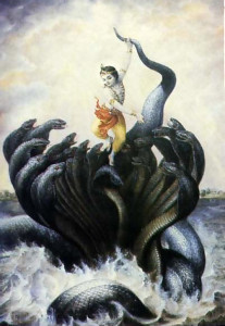 A portrayal of Krsna punishing Kaliya, a multiheaded serpent who made part of the river a deadly pool of poison.