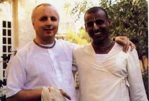 An international staff headed by Welsh-born Gunarnava dasa (left), Bengali-born Tapomaya dasa (right), and Cuban-born Krta-karma dasa, manage the Krsna-Balarama project. In mid-March they welcome hundreds of devotees from the West who visit Krsna-Balarama each year during a month-long festival. At far right , on a chilly morning during this year's festival, devotees hear a class on Srimad-Biragavaram in the temple courtyard.