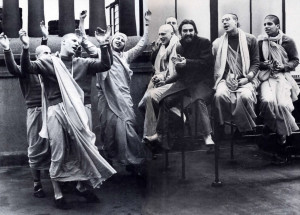 London, March 3, 1970: On the roof of the Apple recording studio. George and Hare Krsna devotees of the London temple celebrate the release of Govinda, a record produced by George and featuring the devotees.
