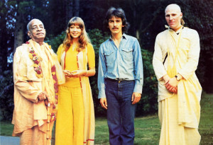 H is Divine Grace A . C. Bhaktivedanta Swami Prabhupada, Patti Boyd, George Harrison, and Dhananjaya dasa at George's home in England in 1973.