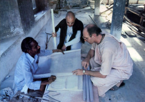He consults with His Holiness Surabhirabhipalayantam Swami and a local craftsman at the Vrndavana construction site.