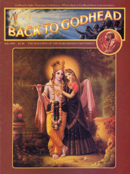 Lord Krsna with His eternal consort, Srimati Radharani. Krsna is eternally a young boy, and Radharani, His dearmost devotee, is eternally a young girl. Their pure, spiritual love is the quintessence of all devotional exchanges. The love between man and woman is only a pale imitation of the love between Radha and Krsna.