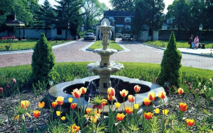 The estate's immaculately manicured lawns and carefully tended gardens arc graced by sculpted fountains