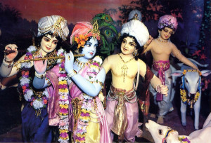 Lord Krsna playing His flute, enter  Vrndavana with His cows,. friends, and brother. Balarama (dressed in purple) .