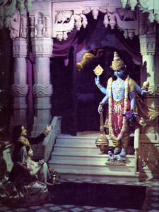 Lord Krsna appears in King Kamsa's dungeon and receives the prayers of His parents Devaki and Vasudeva. The Lord first appeared in His four-armed Visnu form and then transformed llimself into a humanlike infant (visible at Visnu's feet)