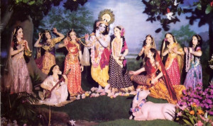 Krsna enjoys dancing with the milkmaids of Vrndavana.