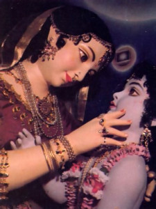Krsna's foster mother, Yasoda, gazes into His mouth and sees the entire cosmos.