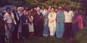 Subhananda dasa (in white robes) and his wife Sitarani-devi dasi (to his right) join with some important WCC delegates and official guests at ISKCON's center in Vancouver, British Columbia.