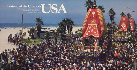 With penants flying in the Pacific breeze, colorful chariots dominate the parade along Venice Beach in Los Angeles.