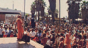 Srila Ramesvara Swami, coordinator of the L. A . celebration, addresses the crowd on the science of God consciousness and the significance of Ratha-yatra.