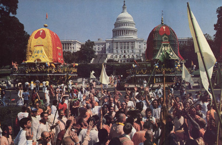 Chariots flank the Capitol rotunda as the chanting reaches blissful heights.