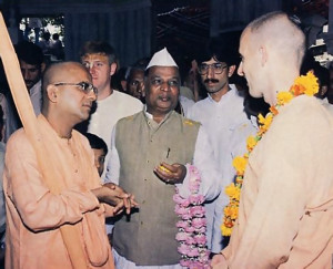 His Excellency Mr. S. B. Chavan (center) with Srila Gopala Krsna Goswami Bhagavatapada and Srila Satsvarupa diisa Goswami Gurupada.