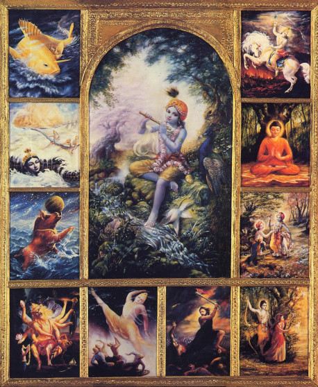 The true principles of religion - which transcend all man-made social, racial, national, and religious differences-can be enunciated only by God. When Lord Sri Krsna (center), the original Personality of Godhead, appears within this material world, He establishes the topmost religious principle: full surrender to Him. Although Lord Krsna has many transcendental forms, They are still one and the same Supreme Personality of Godhead. Counterclockwise from top left are His incarnations as Matsya, the fish; Kurma, the tortoise; Varaha, the boar; Nrsimha, the half man , half lion; Vamana, the dwarf brahmana; Parasurama, the warrior; Rama, the ideal monarch; Krsna and Balarama; Lord Buddha; and Kalki, the annihilator.