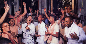 Joyous glorification or the Supreme Lord pervades a genuine temple. At left, to the accompaniment of drums and hand cymbals, devotees of Lord Krsna of various ages and nationalities chant the Hare Krsna mantra and dance during one of the daily services at the ISKCON center in Bombay. A sumptuous feast of vegetarian dishes offered to Krsna is the feature attraction at the Sunday afternoon festival held each week at every ISKCON temple.