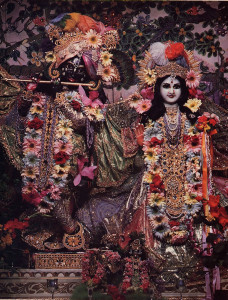 The Radha-Govinda Deities at ISKCON's temple in New York City were presented to Srila Prabhupada by the queen of Jaipur in 1972.
