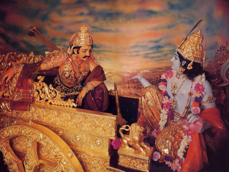 """Krsna and Arjuna on the Battlefield"", a diorama at the temple museum, brings to life the Bhagavad-gita's famous conversation on self-realization."