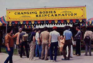 At a campus in Buffalo, New York, students at the Festival of India hear about reincarnation, one of the many philosophical and cultural themes being presented by means of portable exhibits.