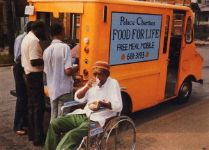 "Up to four hundred people a day obtained hot meals from the ""Free Meal Mobile"" in Cleveland in the summer of 1983. Now, with $20,000 from the city, ISKCON's Food for Life program will expand."