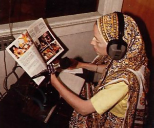 Nanda-patni-devi dasi on the air at KHQN, America's first radio station to broadcast Krsna consciousness full-time .